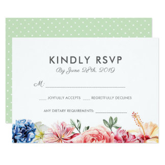 Bright Floral Watercolor RSVP cards