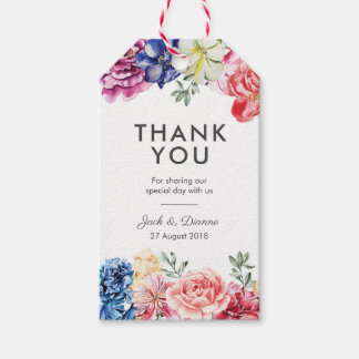 Bright Floral Watercolor Thank You Favour tags