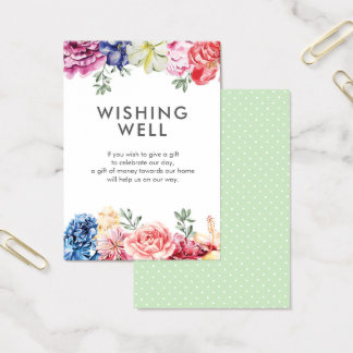 Bright floral watercolor   Wishing Well card