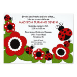 Bright flower & Ladybugs Birthday Invitation 13 Cm X 18 Cm Invitation Card