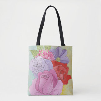 Bright Flowered Tote Bag