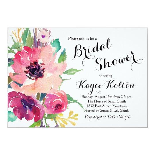 bright flowers Bridal Shower Invitation