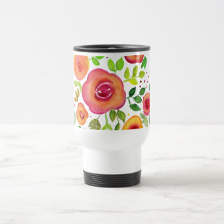 Bright Flowers Floral Bouquet, Watercolor Painting Travel Mug