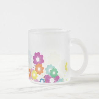 Bright Flowers Frosted Glass Mug
