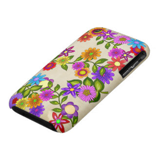 Bright Flowers on Cream iPhone 3 Cover