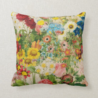 Bright Flowers Painting Collage Throw Pillow