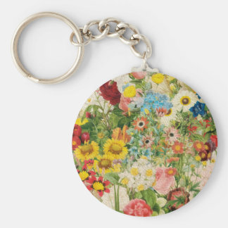 Bright Flowers Painting Collage Keychain