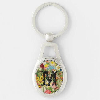 Bright Flowers Painting Collage Keychains