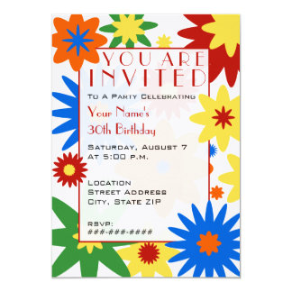 Bright Flowers Party Invitation