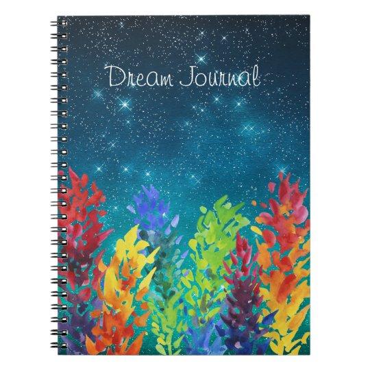 Bright Flowers Starry Night Dream Journal Spiral Note