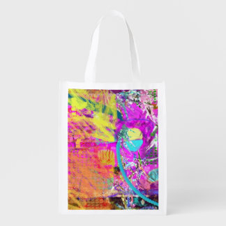 Bright Flowery Abstract Reusable Grocery Bag