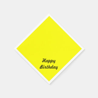 Bright Fluorescent Neon Yellow Custom Text Paper Napkins