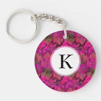 Bright Foliage Autumn Pink Glow Double-Sided Round Acrylic Key Ring