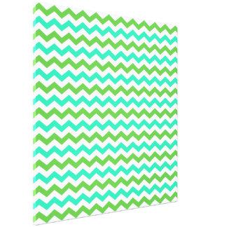Bright fresh color green and blue  chevron canvas prints