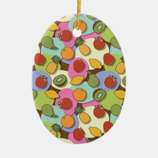 Bright fruits ceramic oval decoration