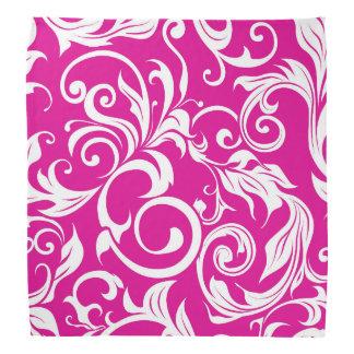 Bright Fuchsia Pink Floral Wallpaper Pattern Bandana