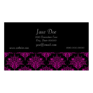 Bright Fucshia Pink over Black Damask Pattern Pack Of Standard Business Cards