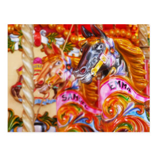 Bright Fun Carousel Horses Postcard