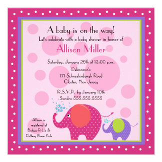 Bright Fun Elephant Baby Shower Personalized Announcement