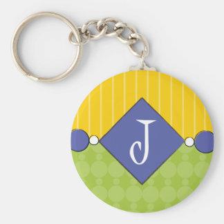 Bright, Fun, Polka Dot Monogram Keychain