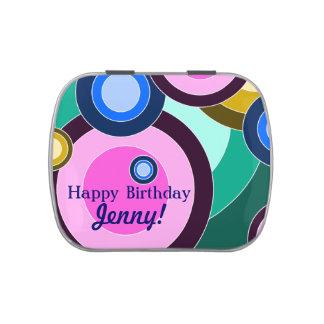 Bright & Fun Retro Circles (Customizable!) Jelly Belly Tin