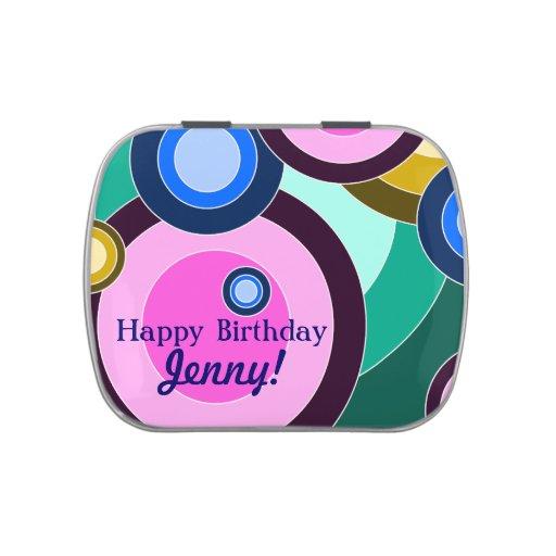 Bright & Fun Retro Circles (Customizable!) Candy Tins