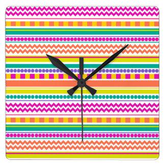 Bright, Funky & Colorful Striped Pattern Design Clocks