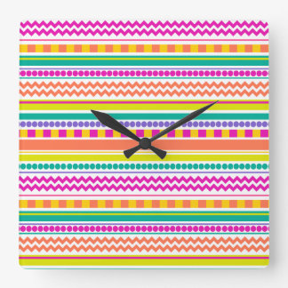 Bright, Funky & Colorful Striped Pattern Design Square Wall Clock
