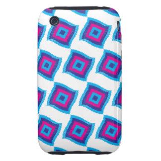 Bright Funky Geometric Diamond Scribble Pattern iPhone 3 Tough Cover