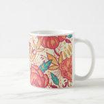 Bright garden flowers pattern coffee mug