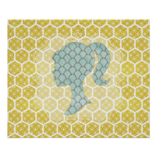Bright geometric design with shabby sillhouette poster