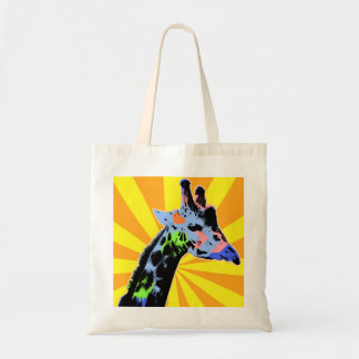 Bright Giraffe Pop Art Illustration, Colorful Tote Bag