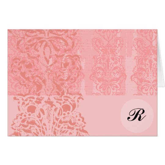 Bright Girly Pink Damask Monogram Initial Note- Card