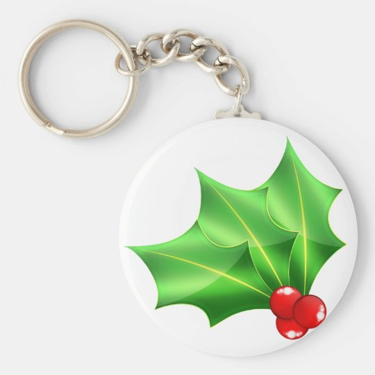 Bright_glass_hollies Basic Round Button Key Ring