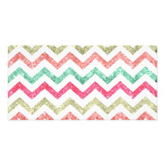 Bright Glitter Teal Coral Emerald Red Chevron Card