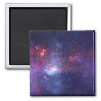 Bright Glowing Galaxy in Outer Space Square Magnet