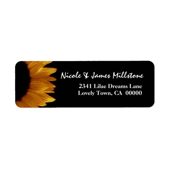 Bright Gold and Black Sunflower Modern Wedding Return Address Label
