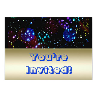 Bright Gold Blue Outer Space Theme 13 Cm X 18 Cm Invitation Card