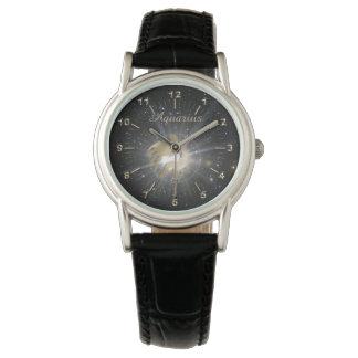 Bright golden Aquarius Watch