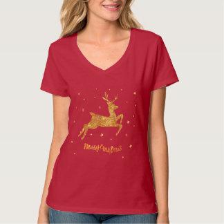 Bright golden Christmas Reindeer Women's T-shirt
