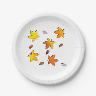 Bright Golden Falling Autumn Leaves 7 Inch Paper Plate