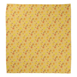 Bright Golden Falling Autumn Leaves Bandana