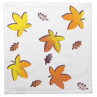 Bright Golden Falling Autumn Leaves Napkin