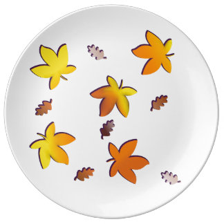 Bright Golden Falling Autumn Leaves Porcelain Plate