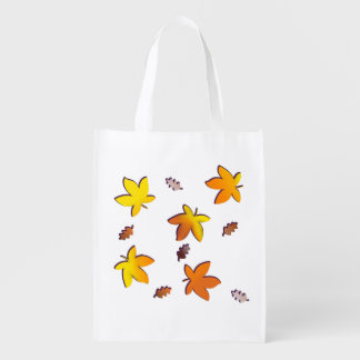 Bright Golden Falling Autumn Leaves Reusable Grocery Bag