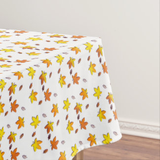 Bright Golden Falling Autumn Leaves Tablecloth