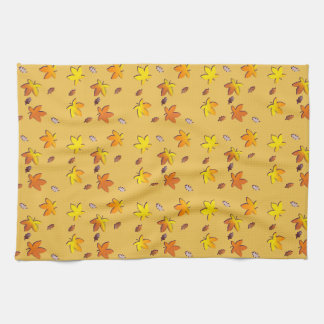 Bright Golden Falling Autumn Leaves Tea Towel