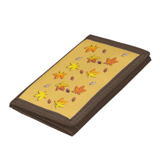 Bright Golden Falling Autumn Leaves Trifold Wallet