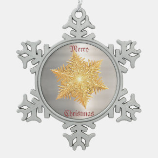 Bright Golden Metal Flake Snowflake Pewter Christmas Ornament