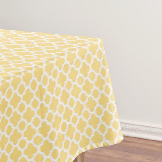 Bright Golden Yellow White Ikat Quatrefoil Pattern Tablecloth